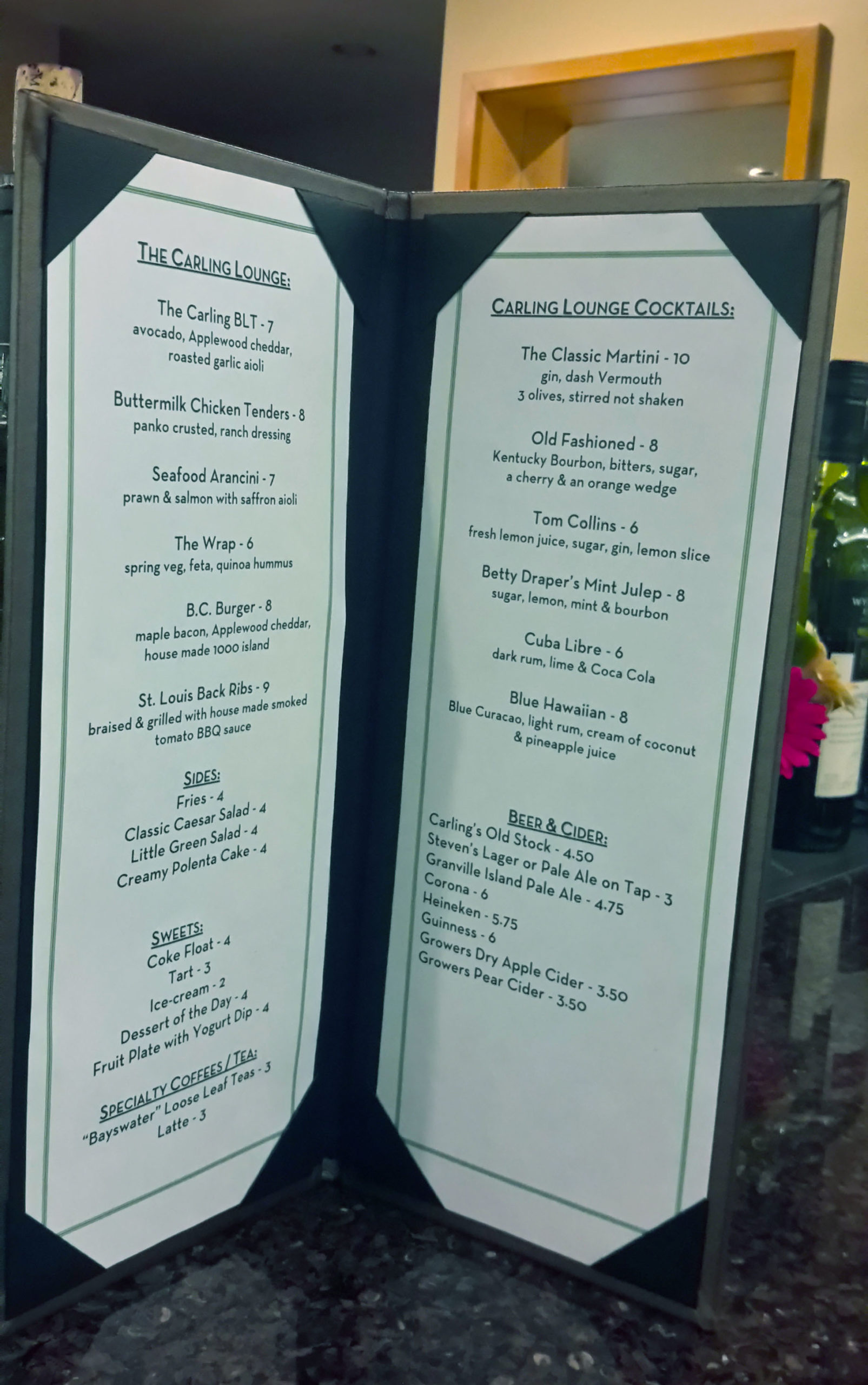 O'Keefe Lounge Menu